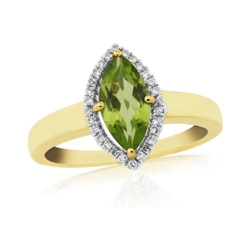 Marquise Peridot And Diamond  Yellow Gold Cluster Ring